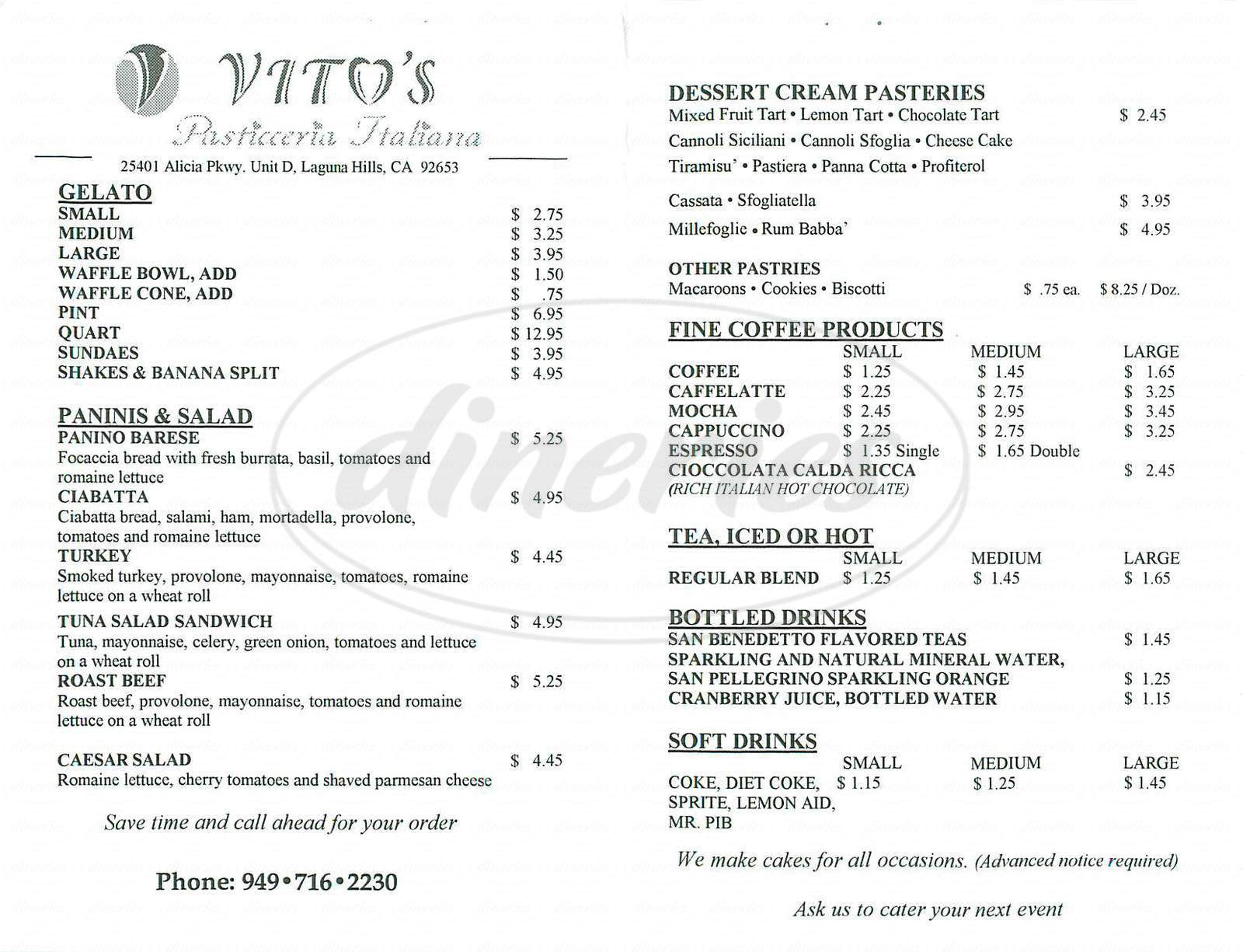 menu for Vitos's Pasticceria Italiana