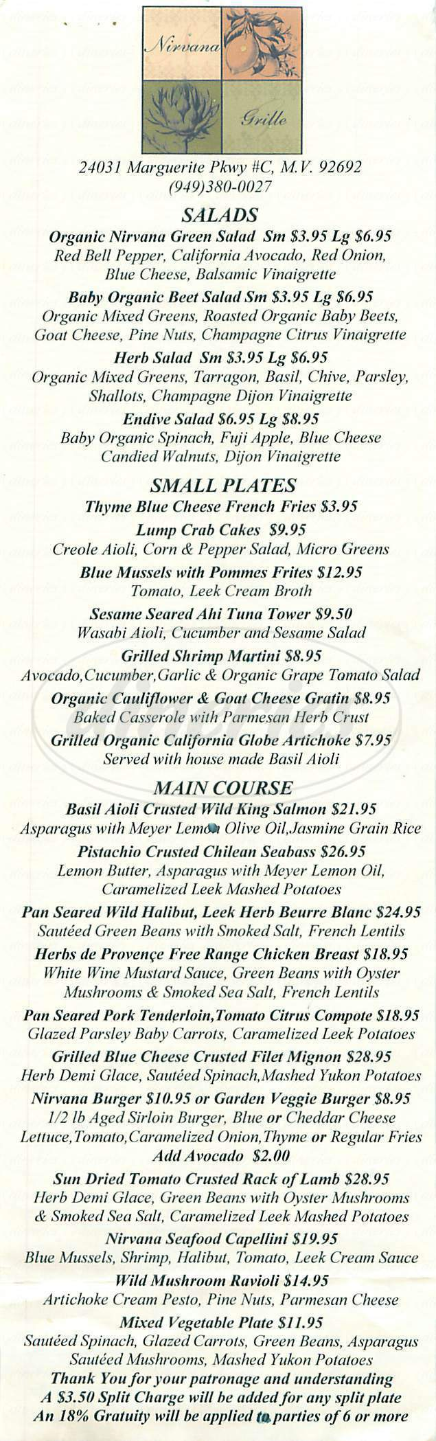 menu for Nirvana Grille