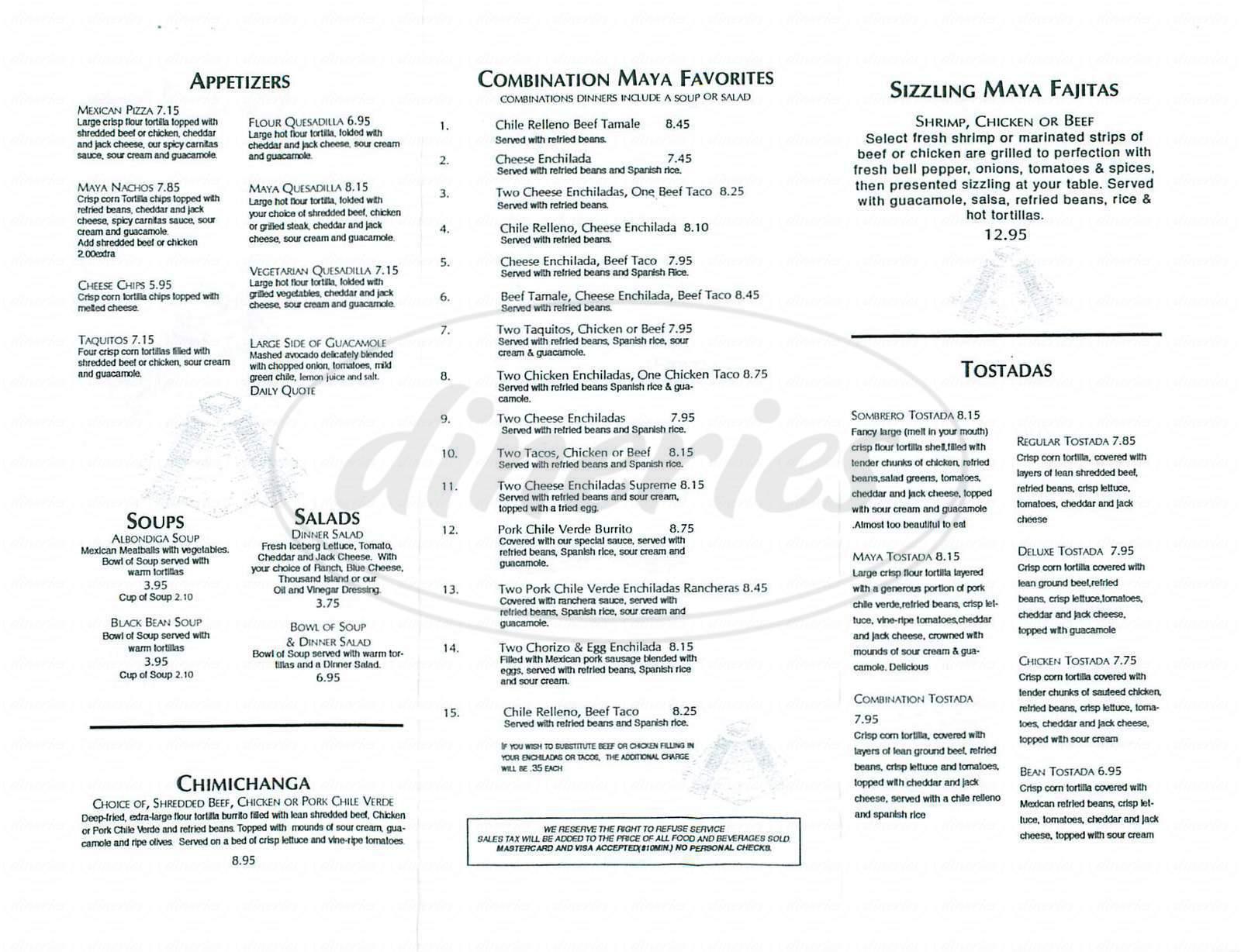 menu for Maya Inn