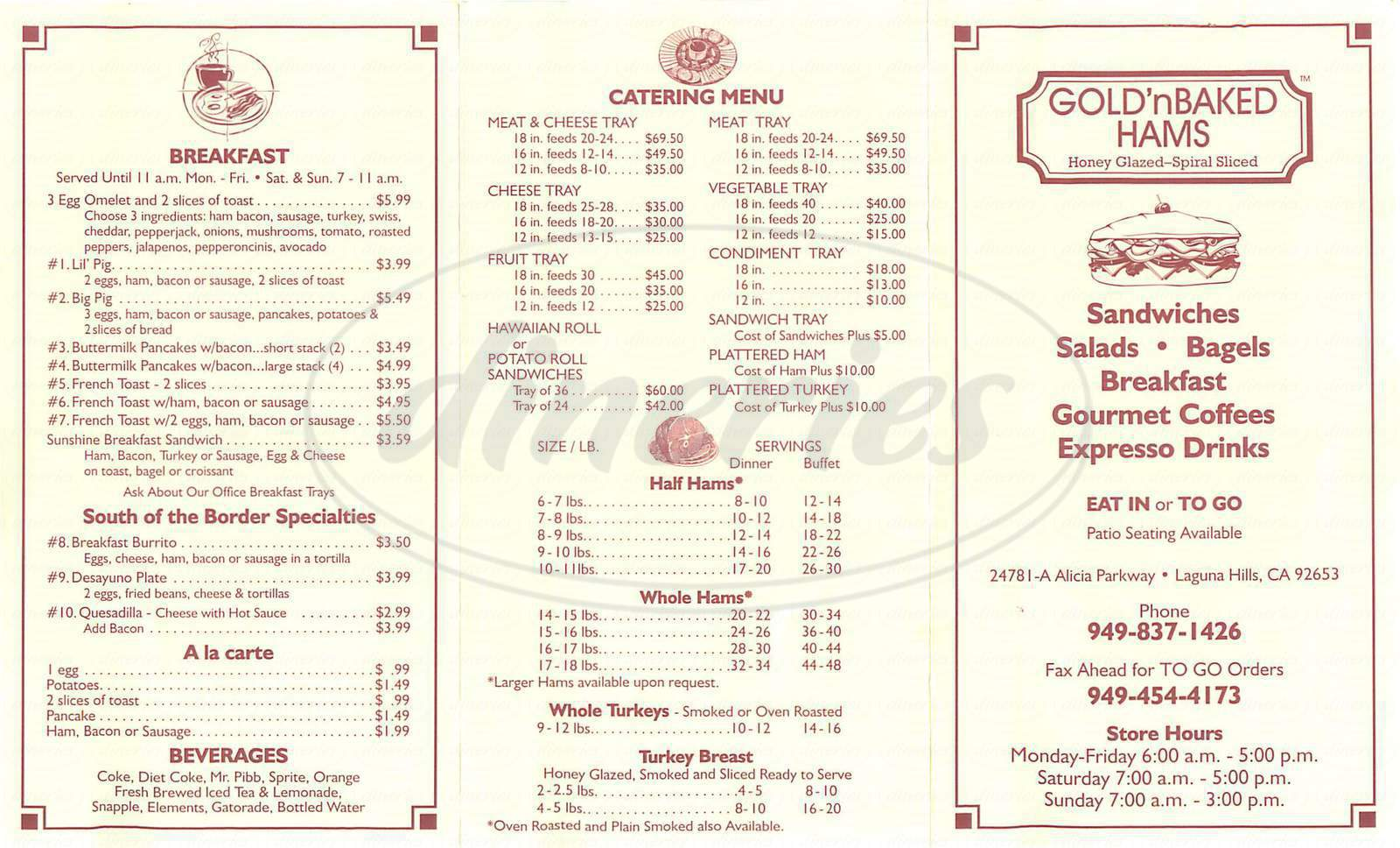 menu for Gold'n Baked Hams