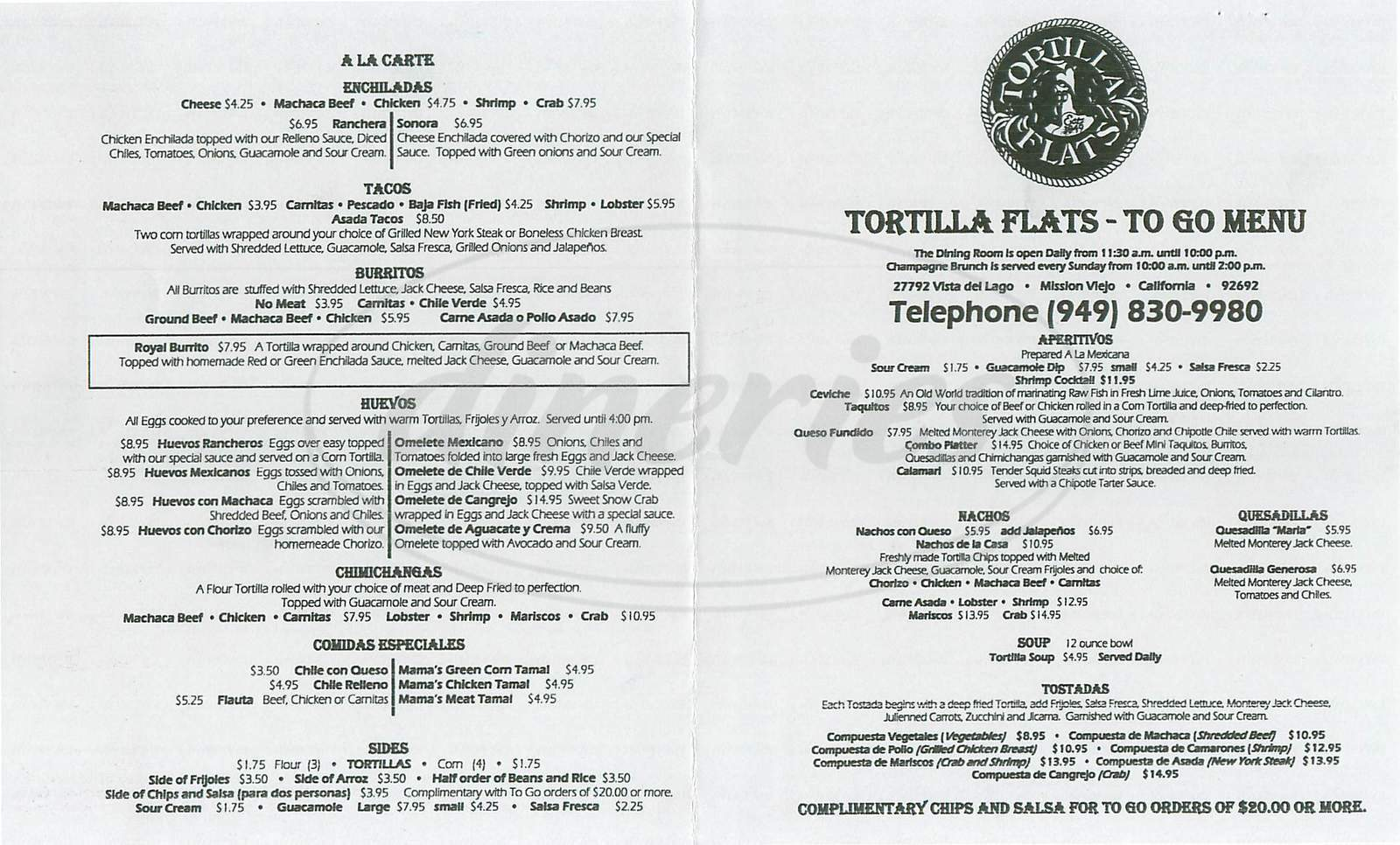 menu for Tortilla Flats