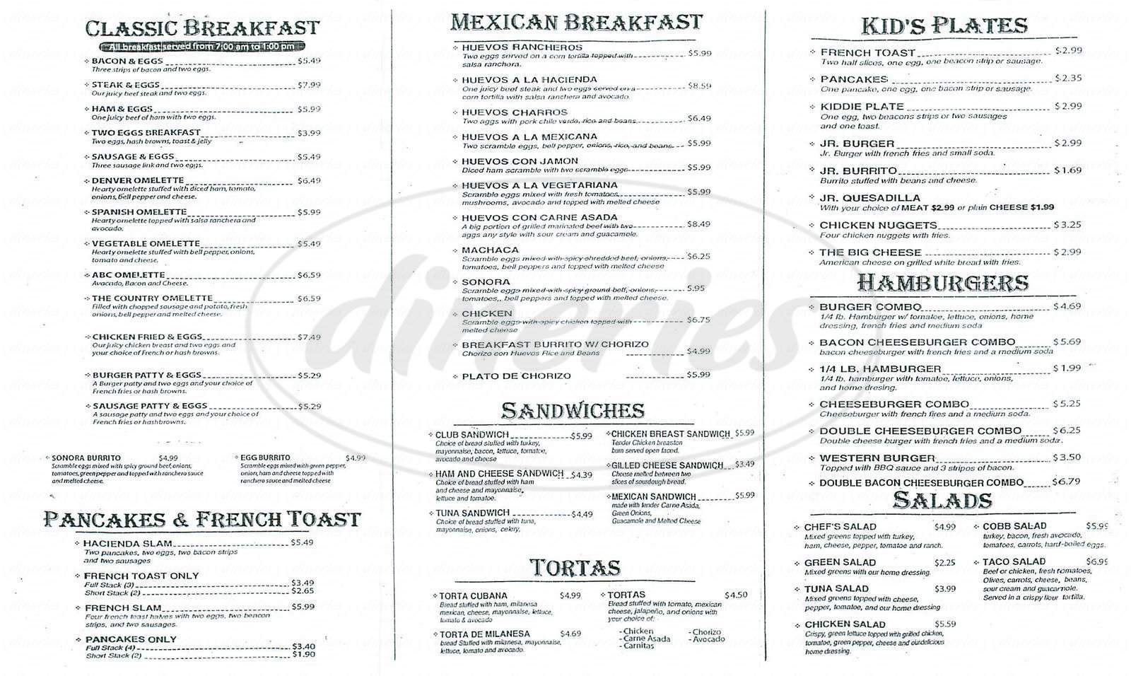menu for Hacienda la Joya