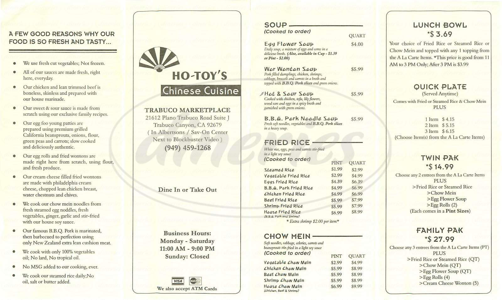 menu for Ho-Toy's Chinese Cuisine