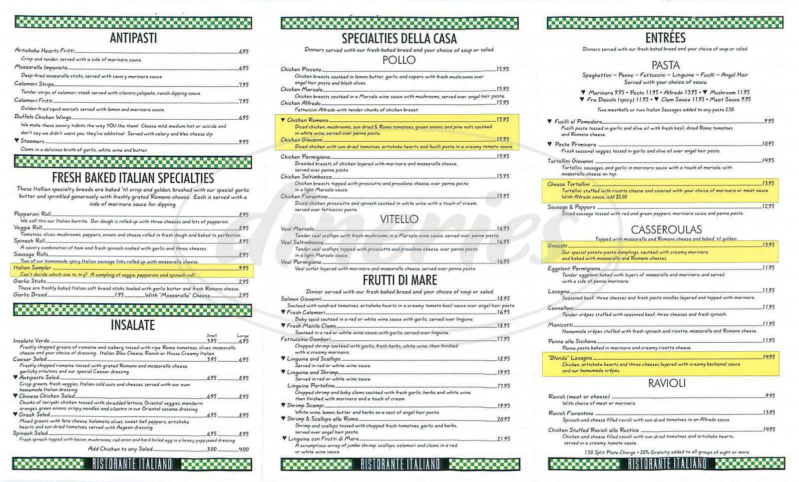 menu for San Giovanni