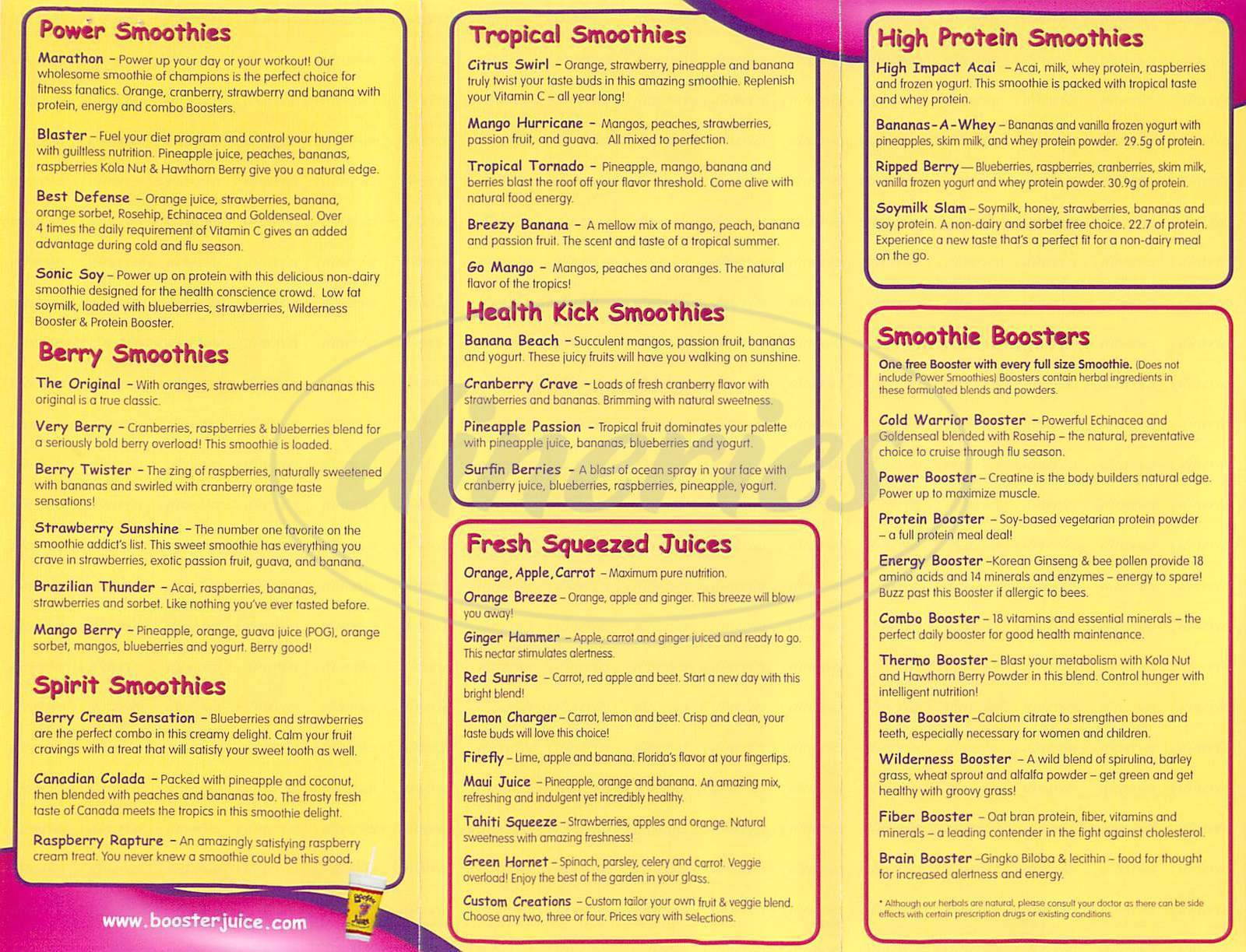 menu for Booster Juice