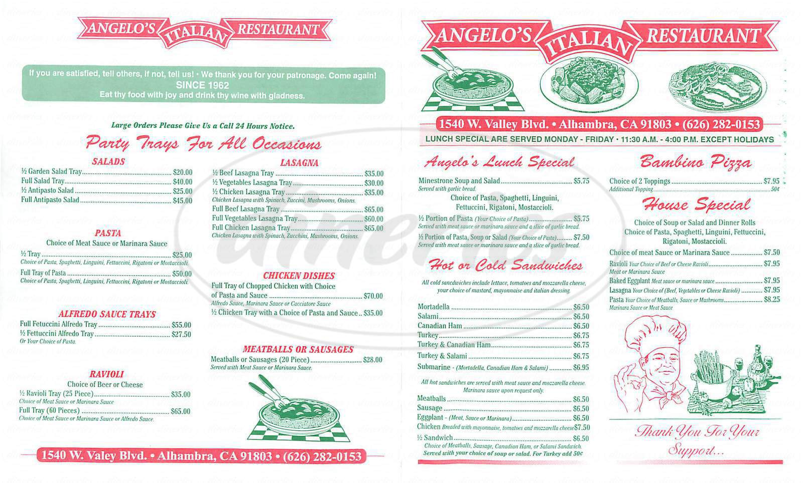 Big menu for Angelo's Italian Restaurant, Alhambra