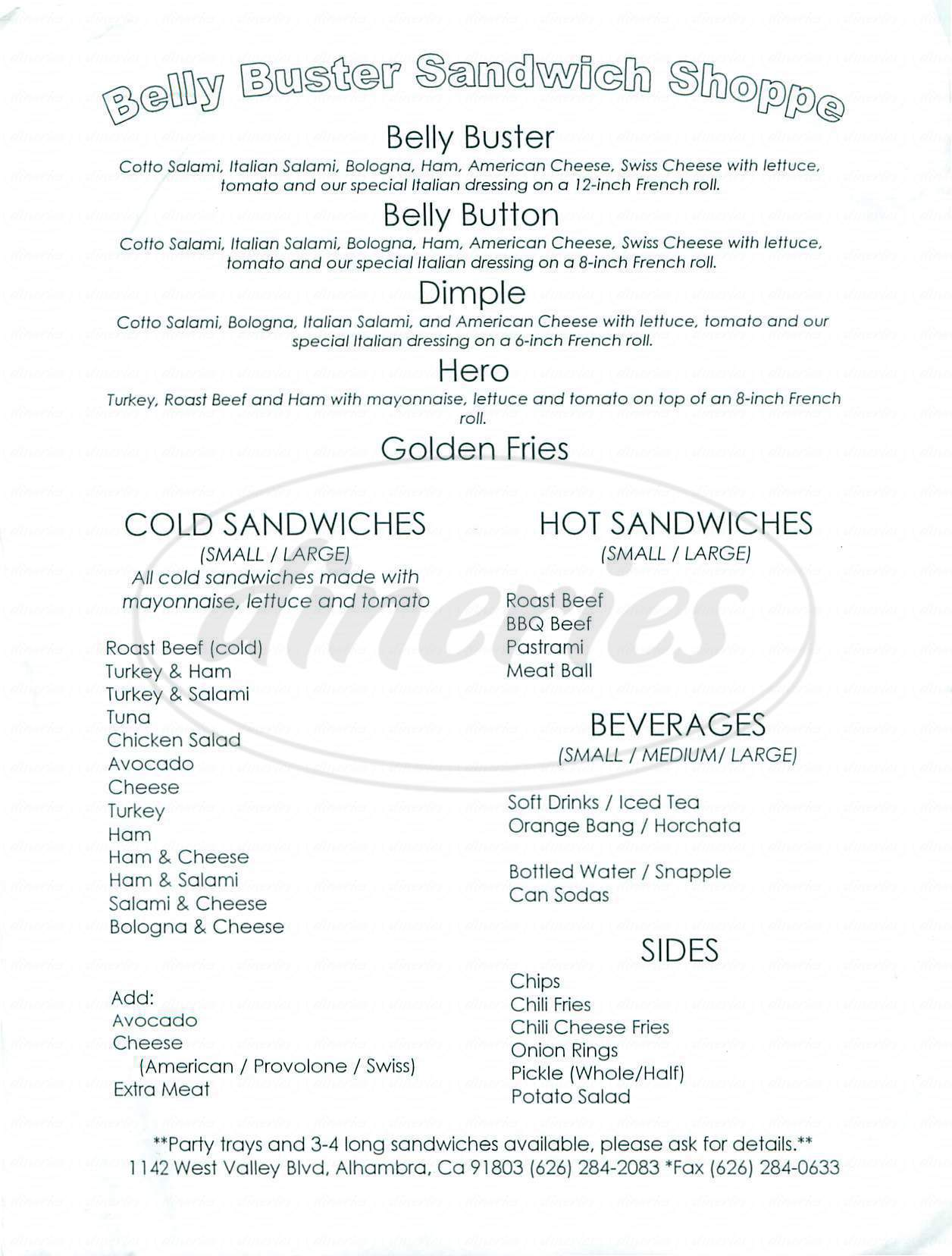 menu for Belly Buster Sandwich Shoppe