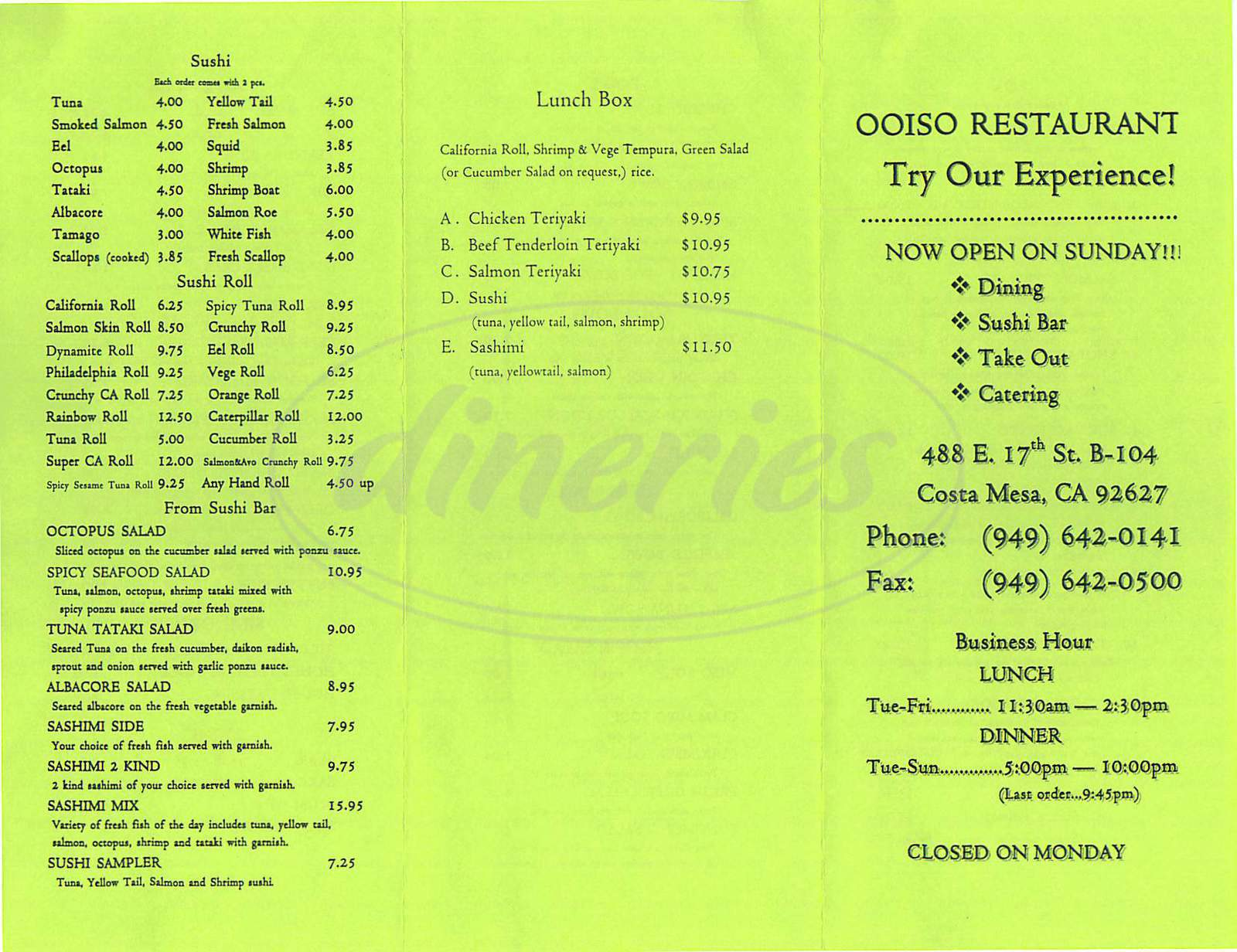 menu for Ooiso Restaurant