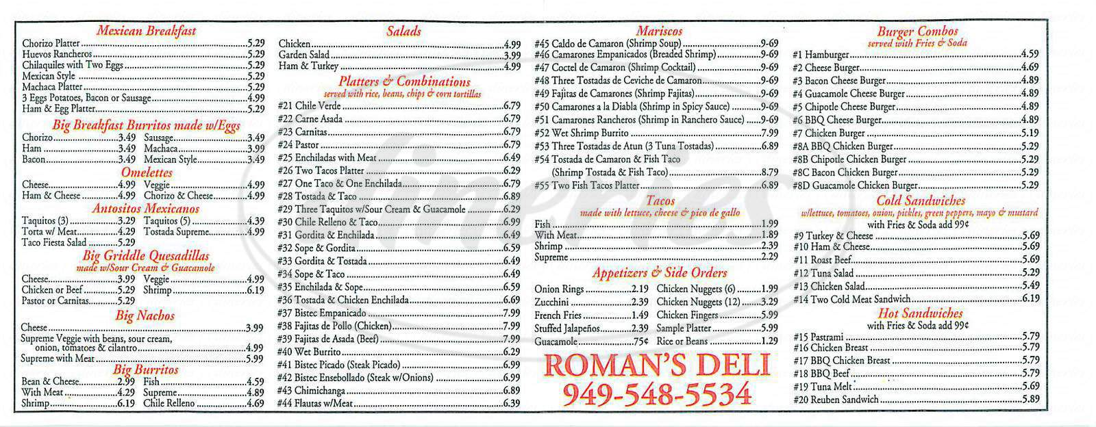 menu for Roman's Deli