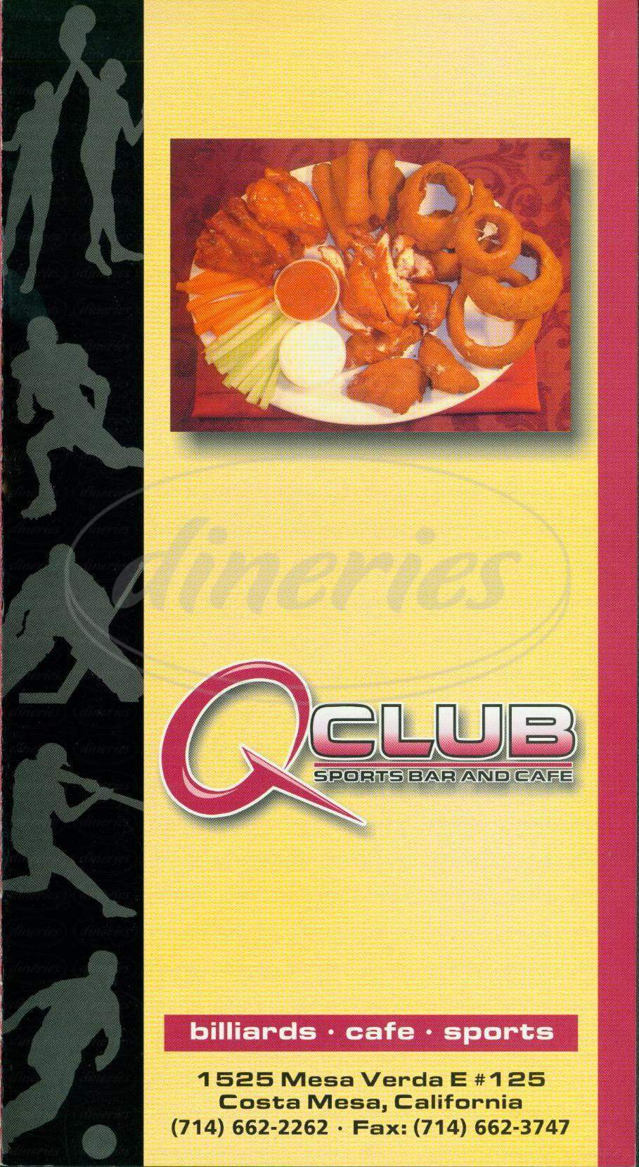 menu for Q Club Sports Bar