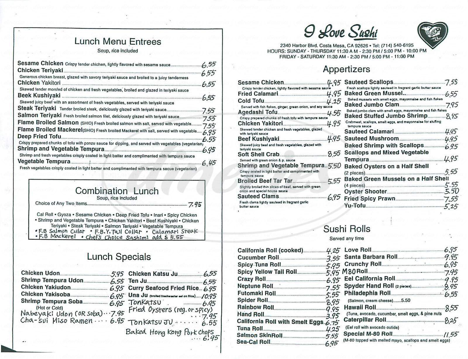 menu for I Love Sushi