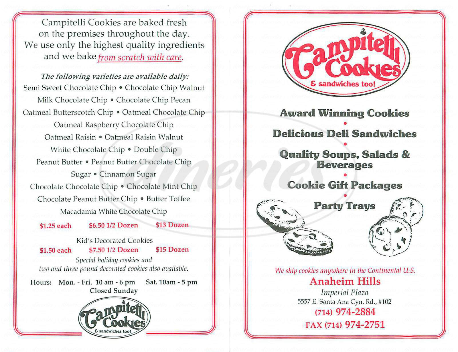 menu for Campitelli Cookies