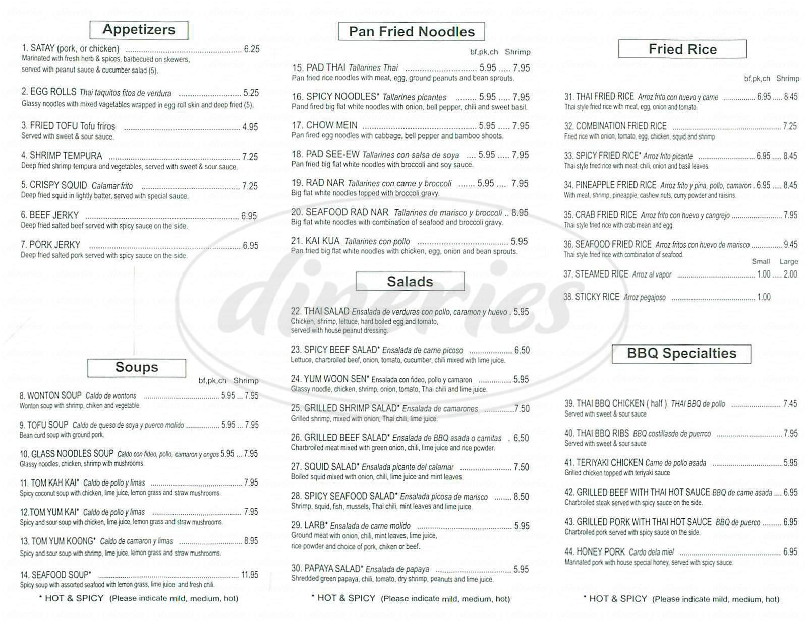 menu for Thai Tasty Corner