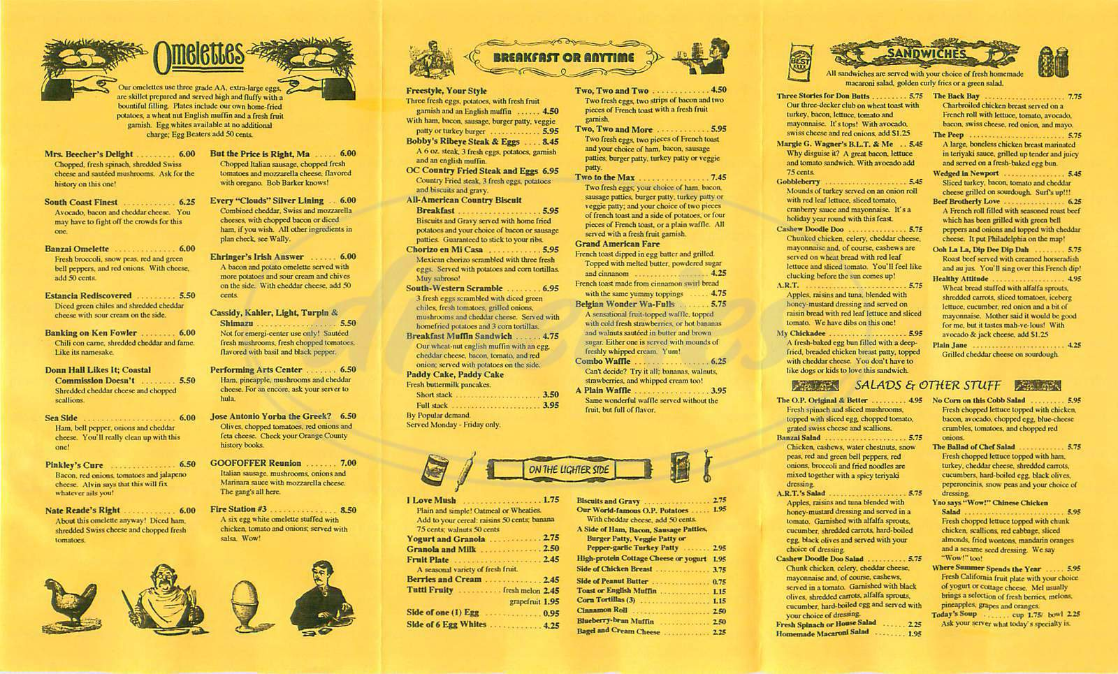 menu for Costa Mesa Omelette Parlor