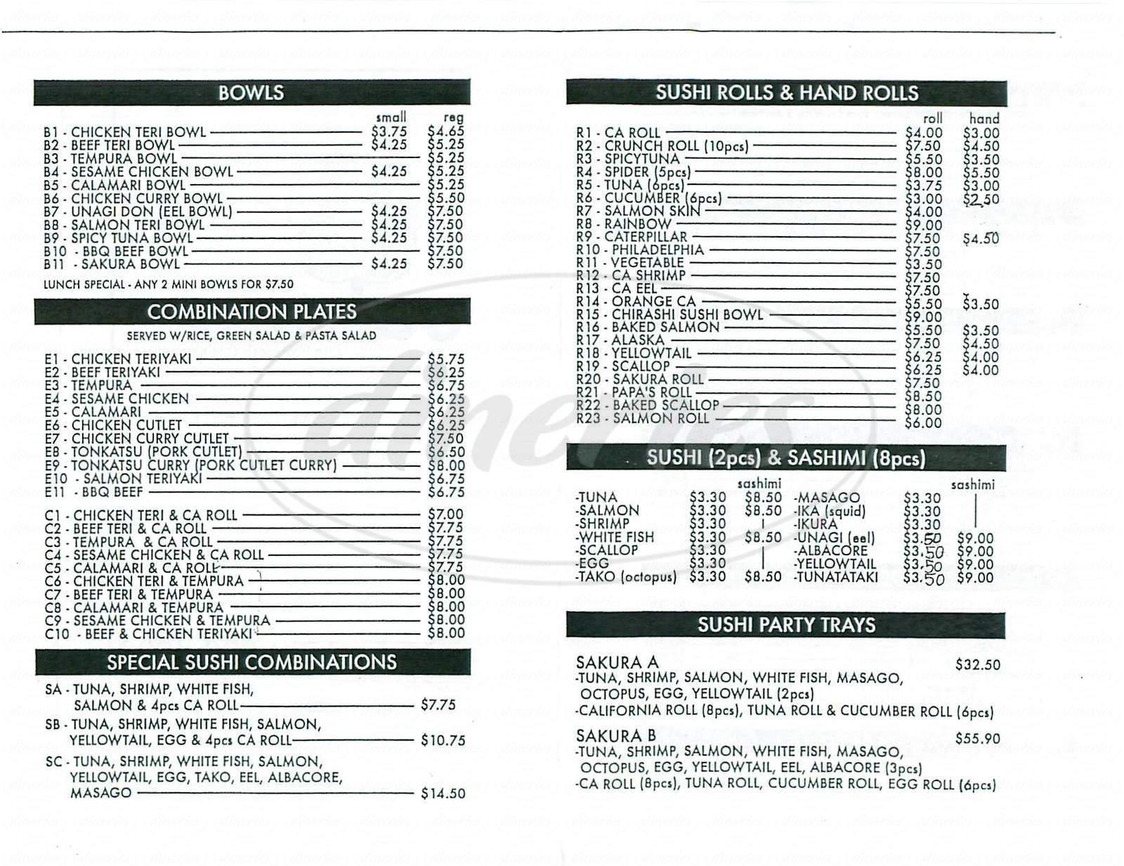 Big menu for Sakura, Anaheim