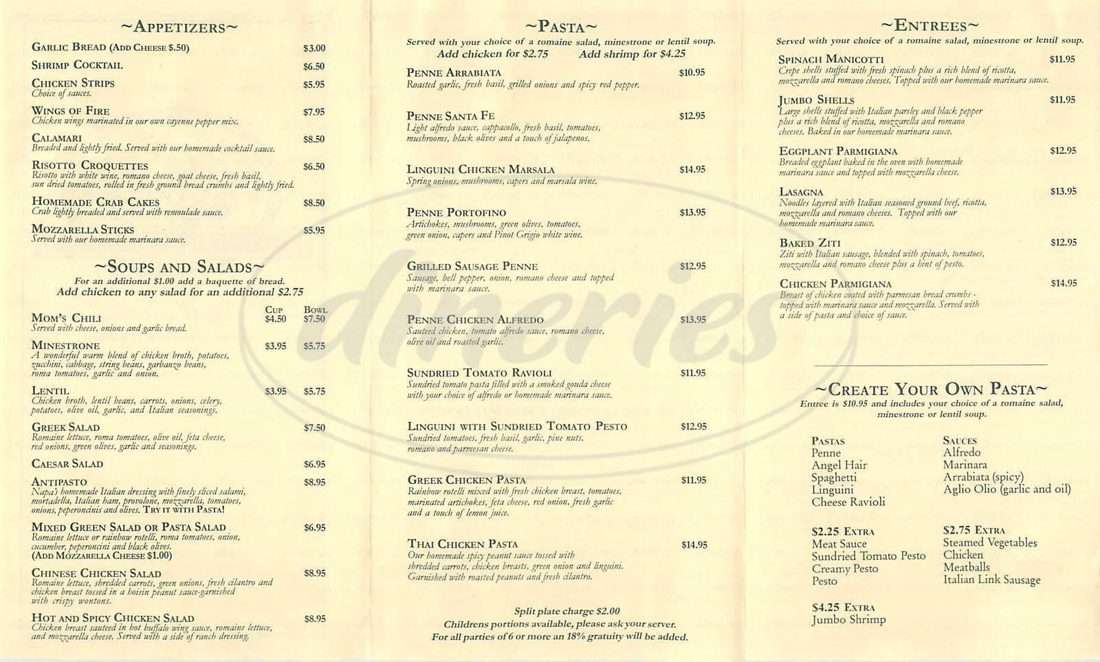 menu for Napa Valley Pizza & Pasta