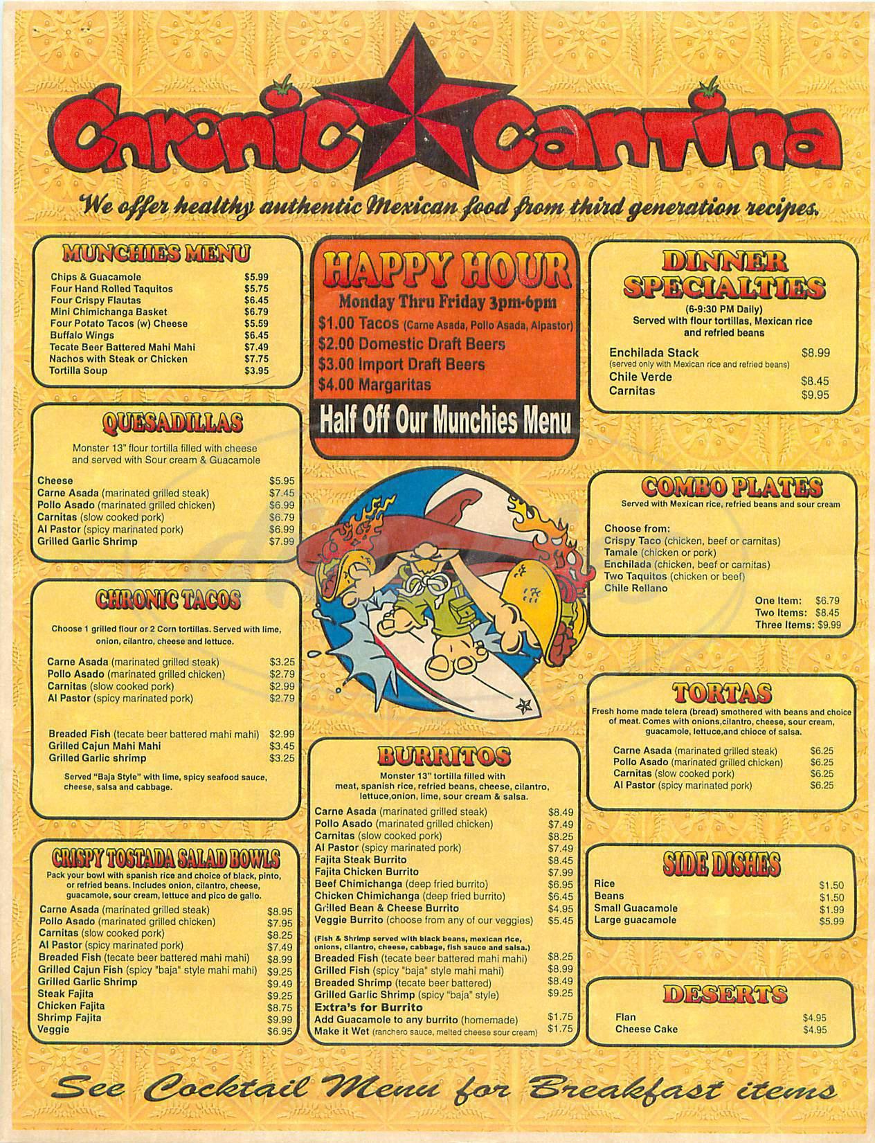 menu for Chronic Cantina