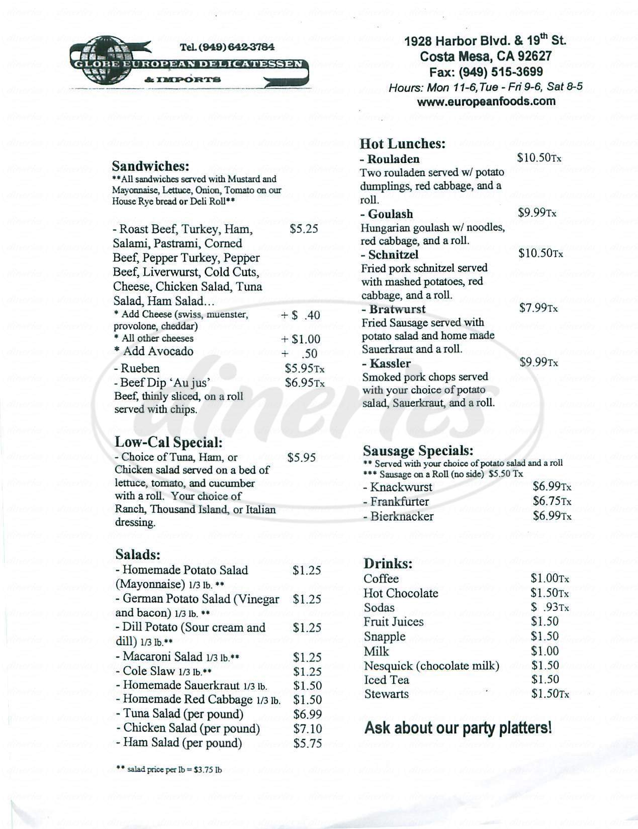 menu for Globe European Deli