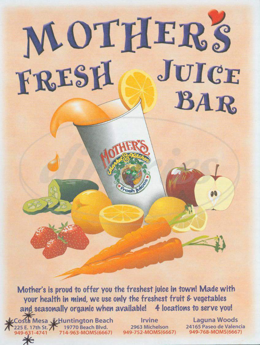 menu for Mother's Fresh Juice Bar