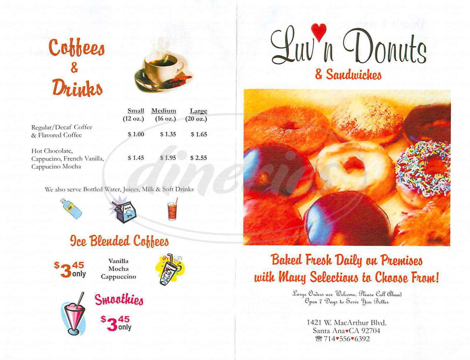 menu for Luv'n Donuts
