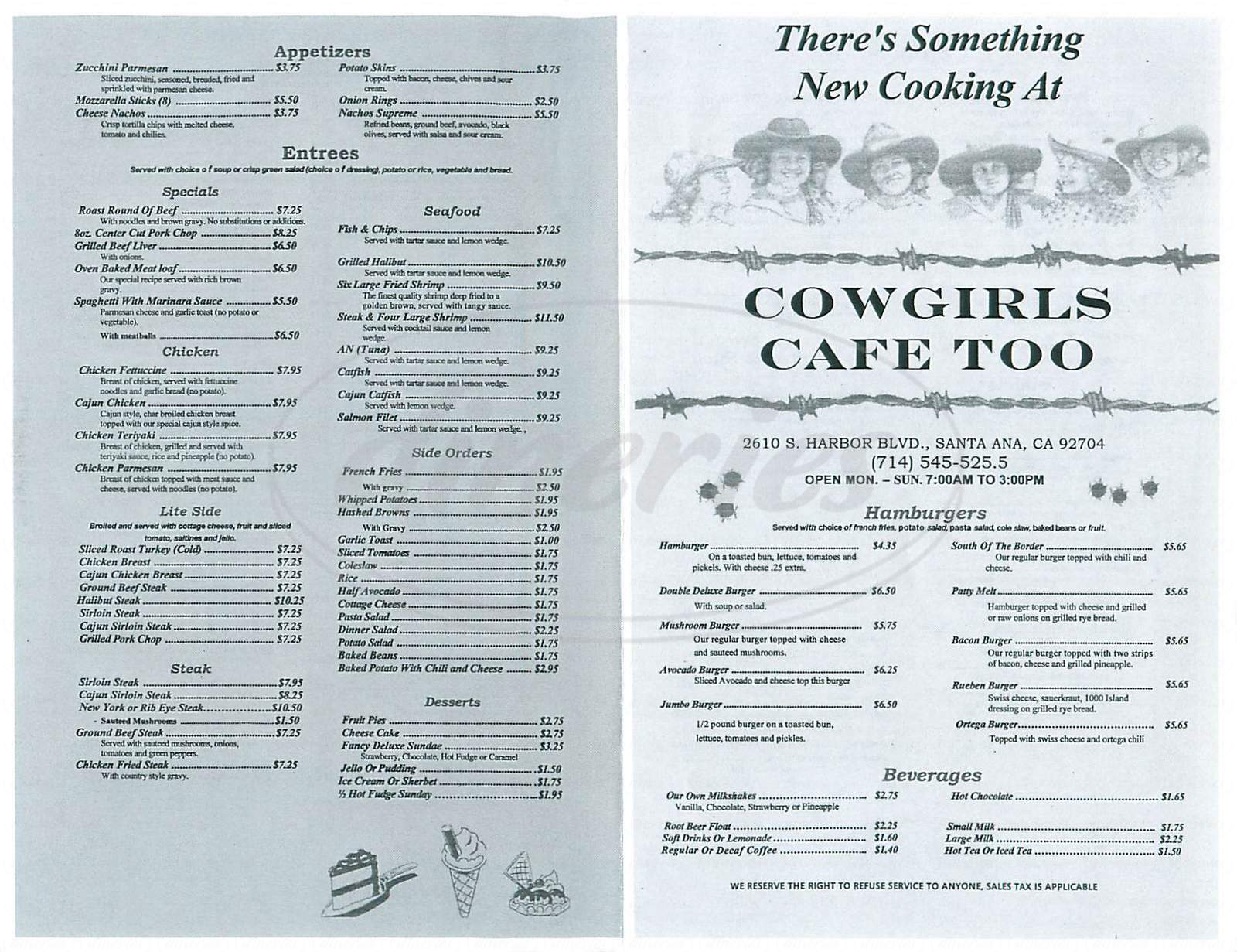 menu for Cowgirls Cafe Too