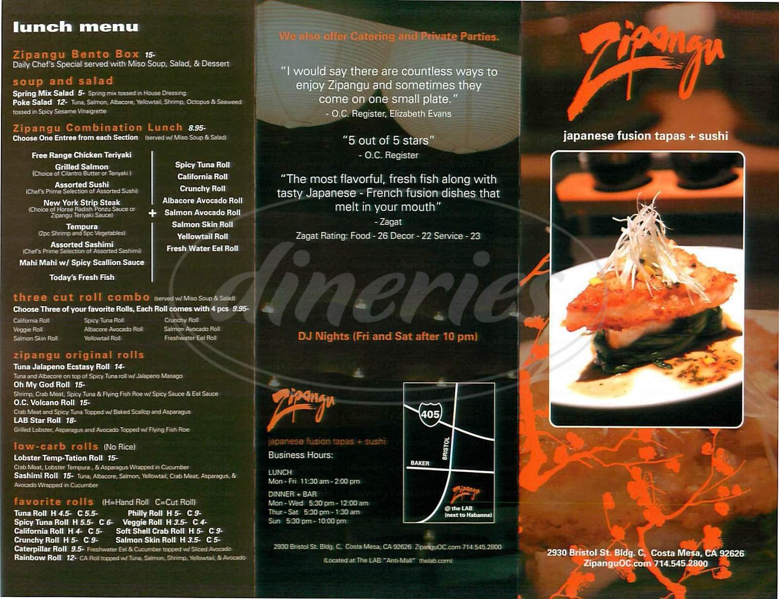 menu for Zipangu