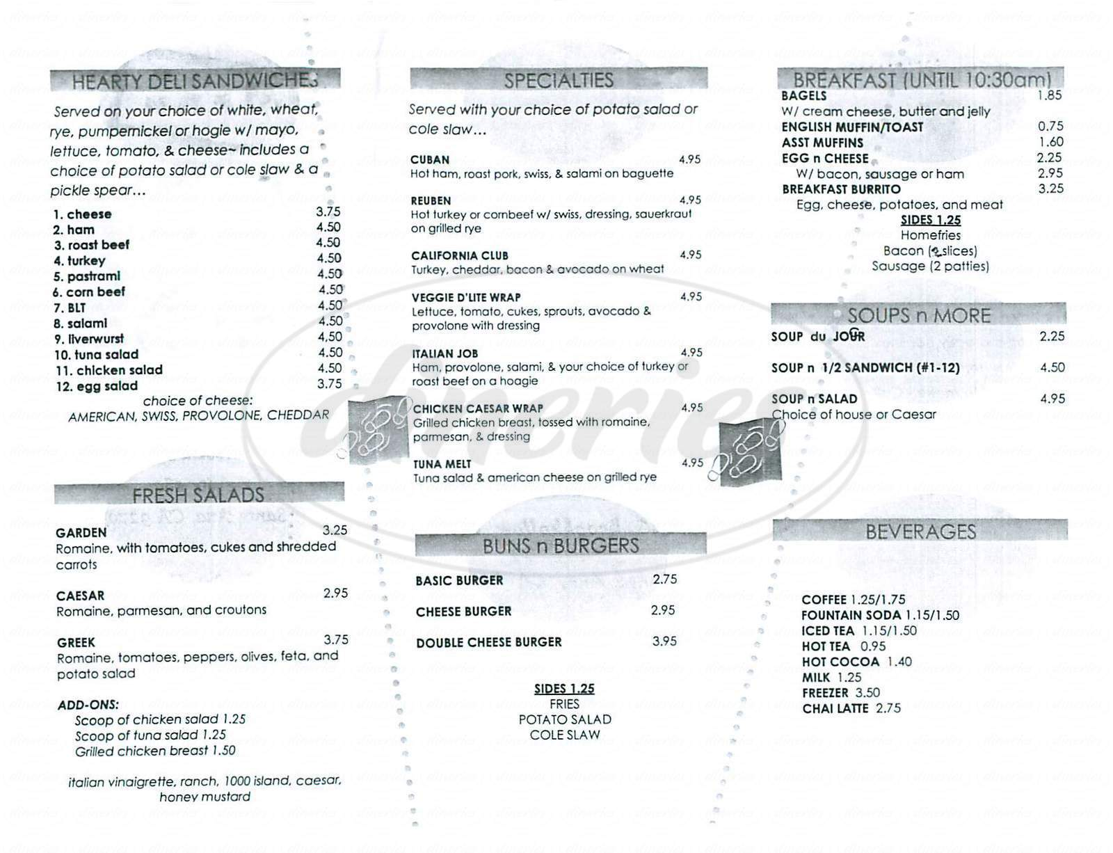 menu for George's Cafe