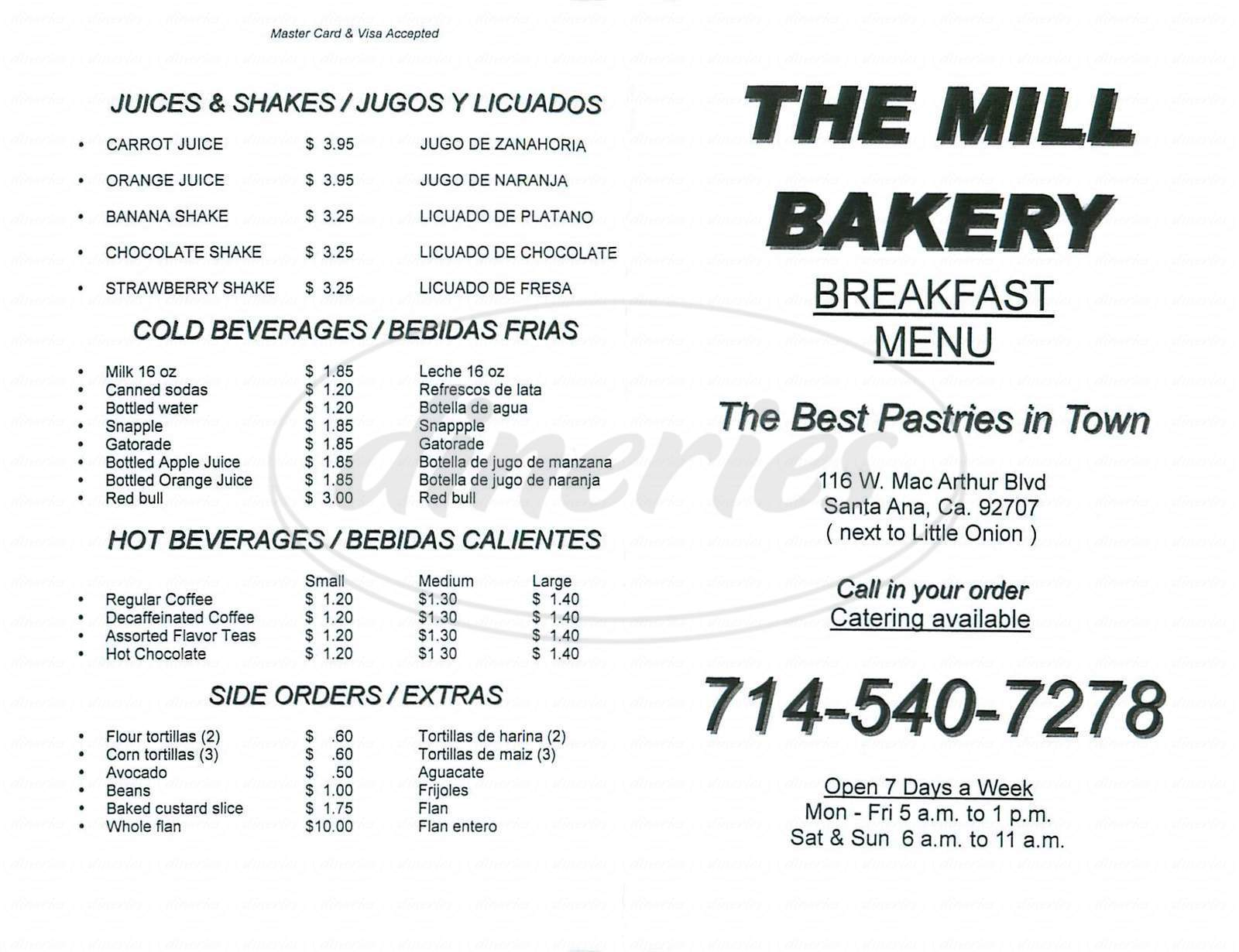 menu for The Mill Bakery