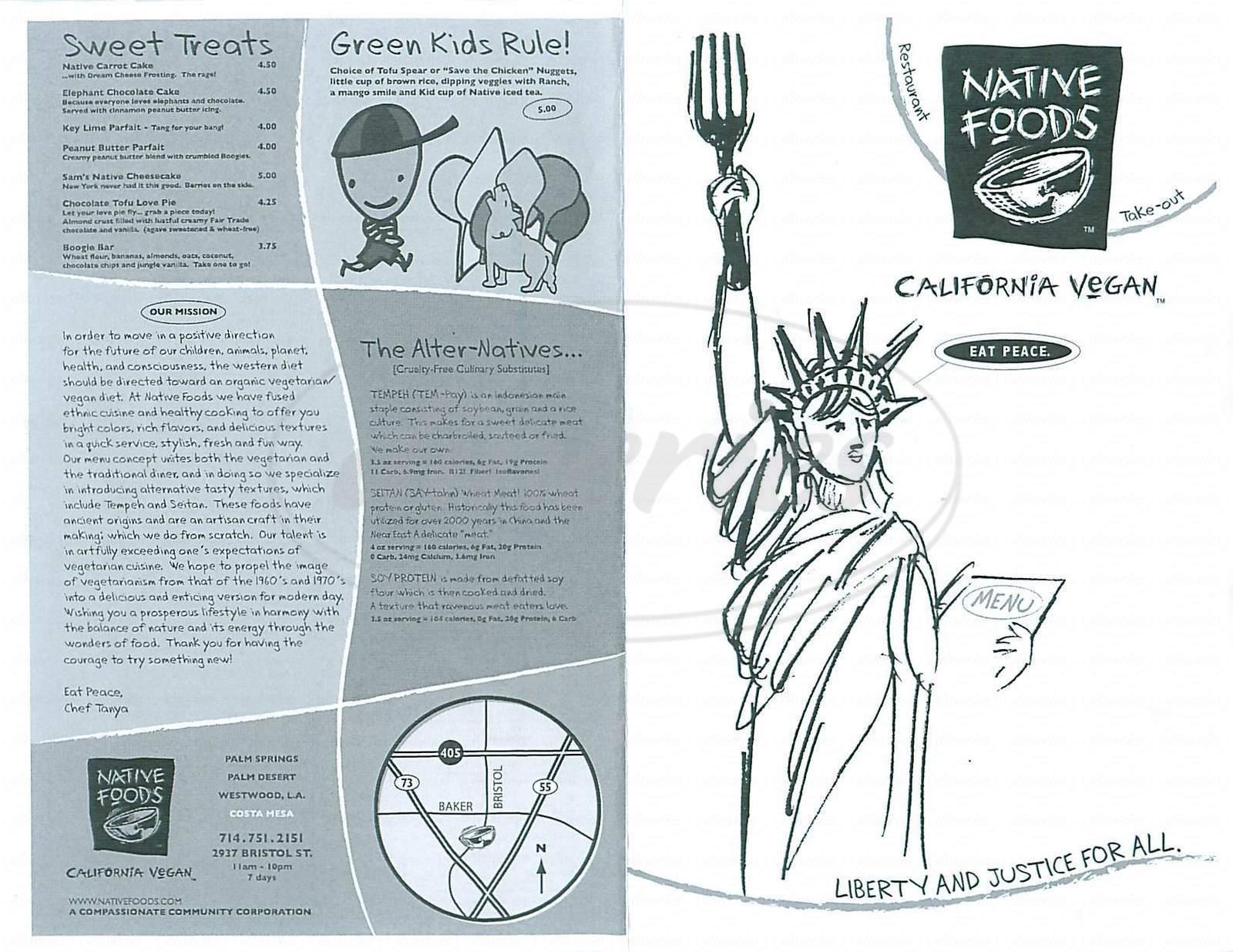menu for Native Foods
