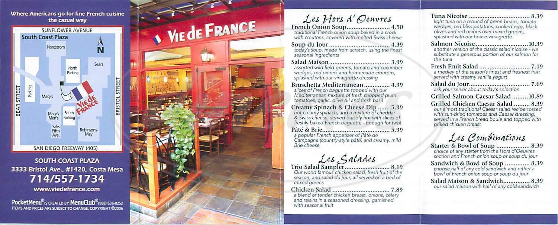 menu for Vie de France