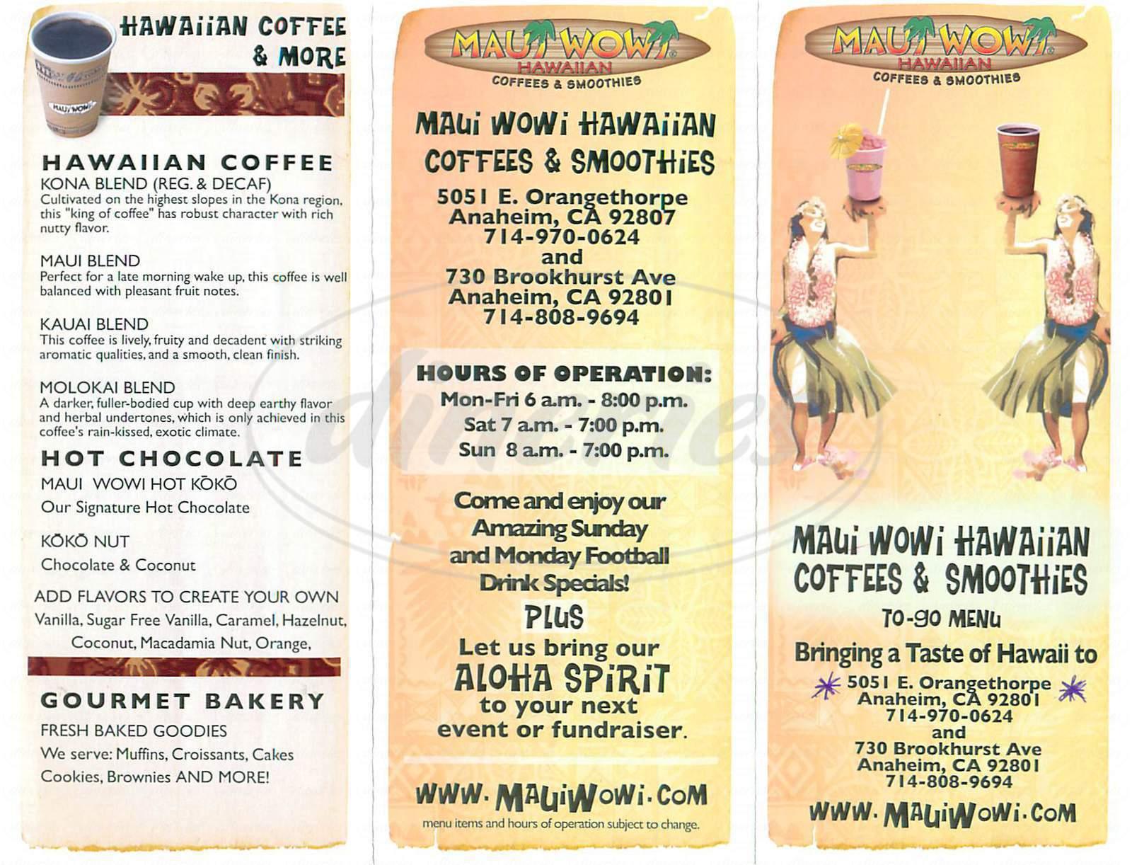 menu for Maui Wowi