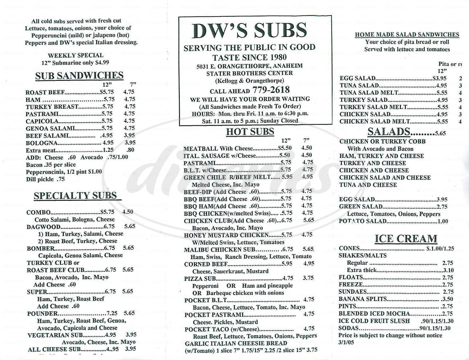 menu for DW's Subs