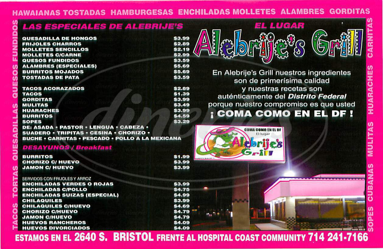 menu for Alebrije's Grill