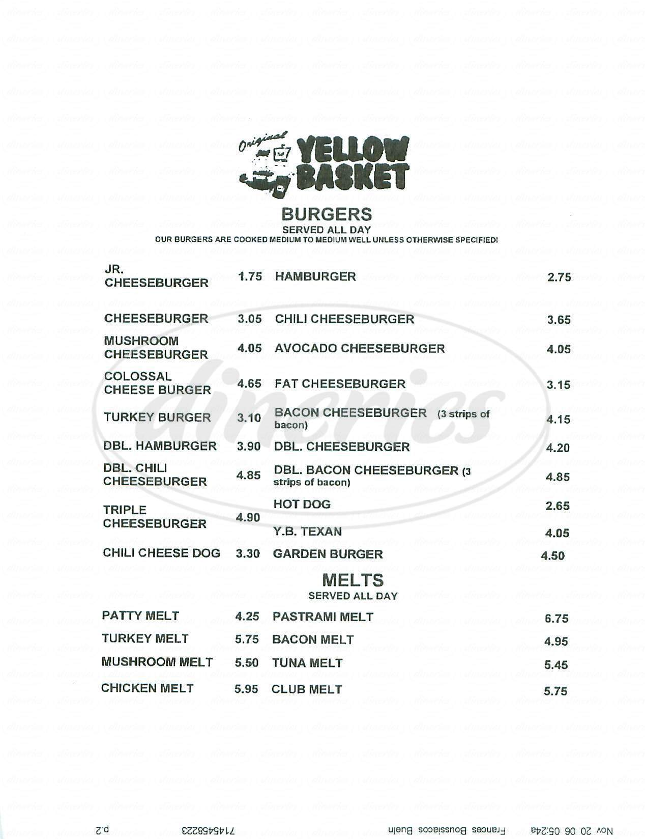 menu for Yellow Basket