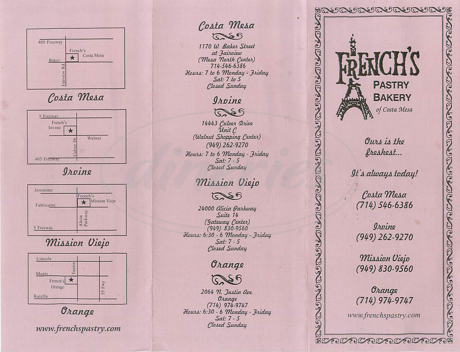 menu for French's Pastry Bakery