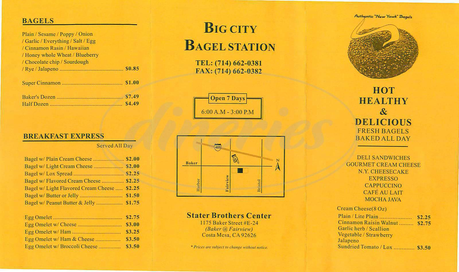 menu for Big City Bagel Station