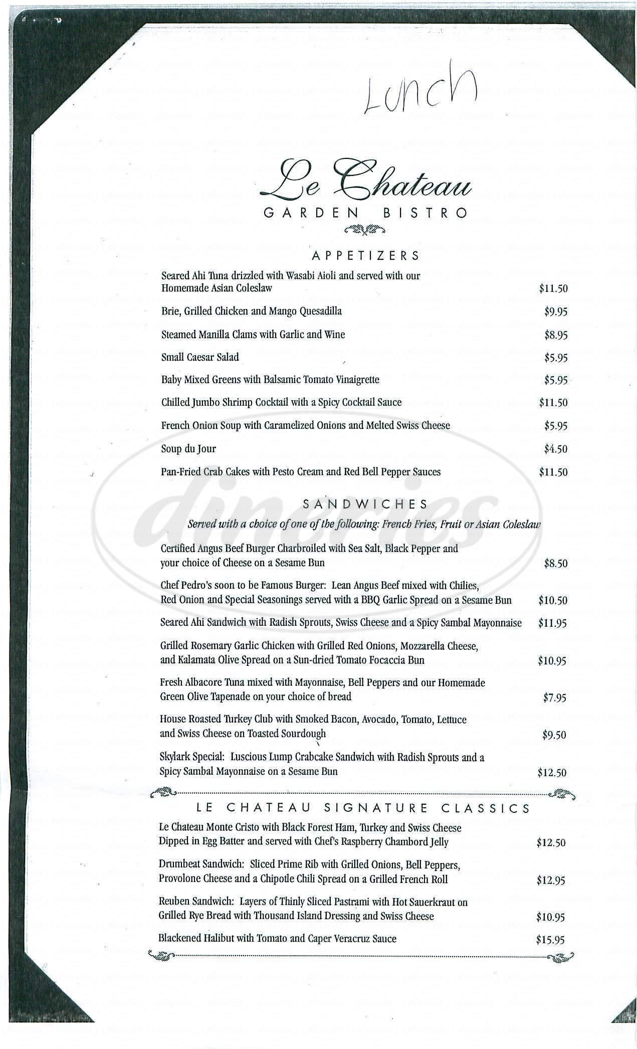 menu for Le Chateau Garden Bistro
