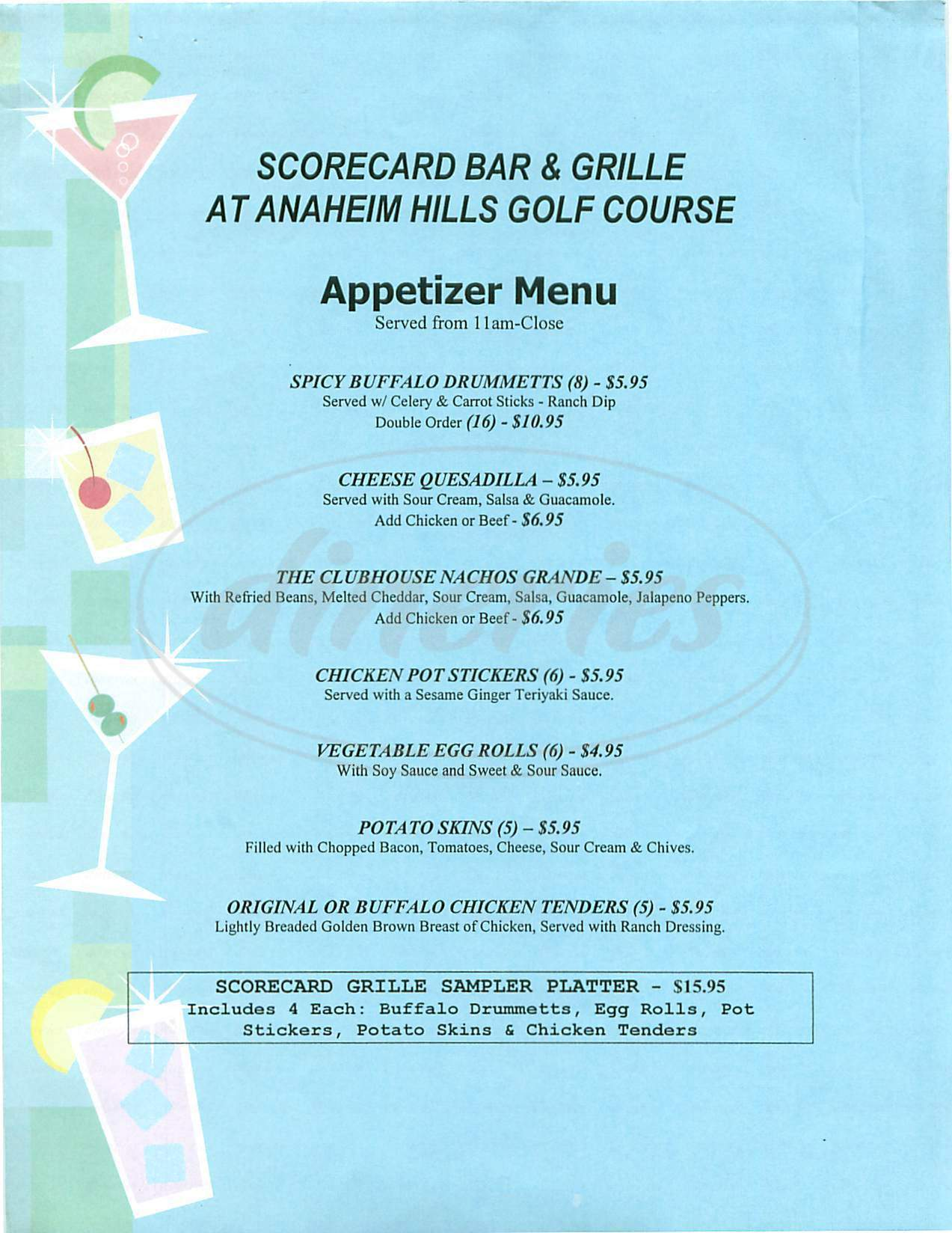 menu for The Clubhouse