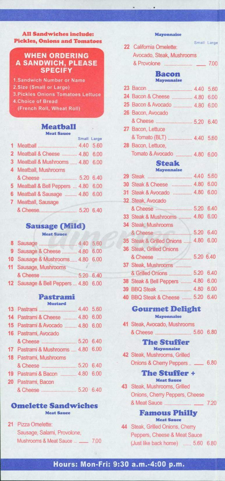 menu for Tummy Stuffer