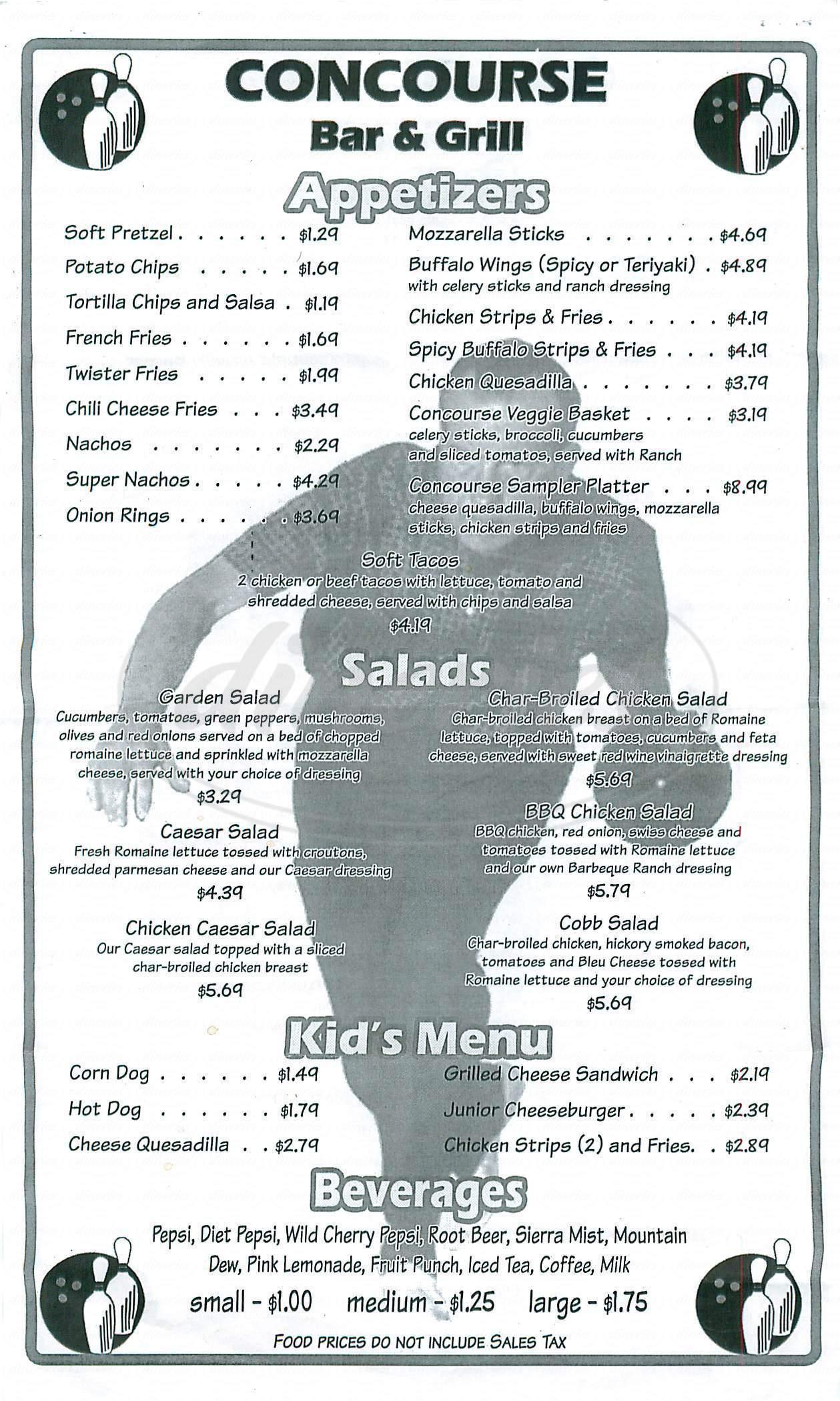 menu for Concourse Bar & Grill