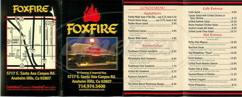 menu for Foxfire
