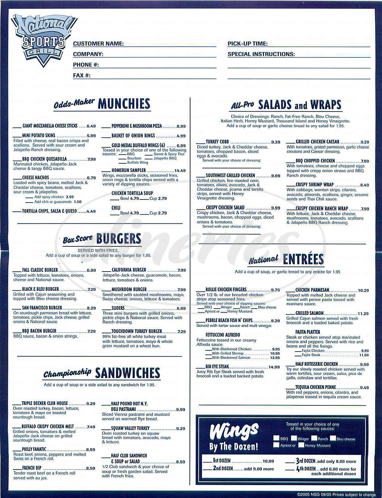menu for National Sports Grill