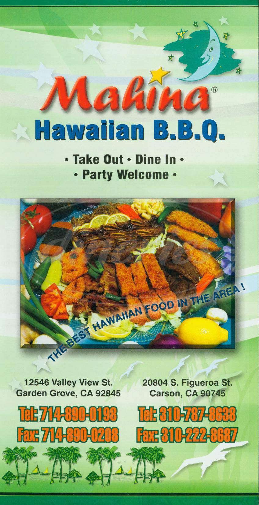 menu for Mahina Hawaiian Bbq