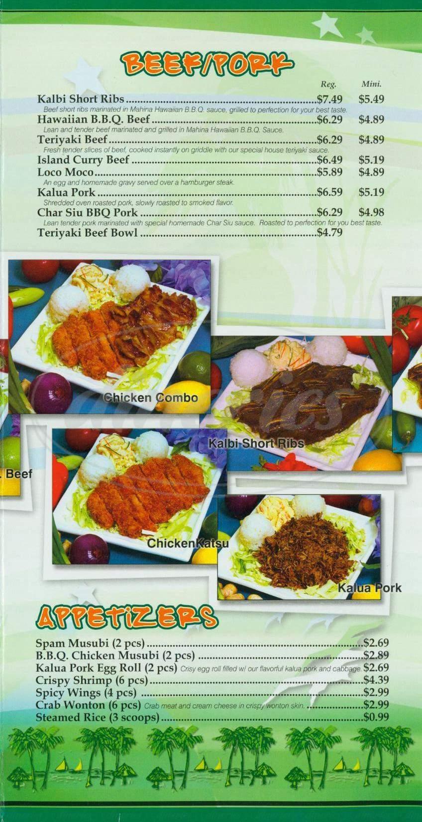 menu for Mahina Hawaiian Bbq