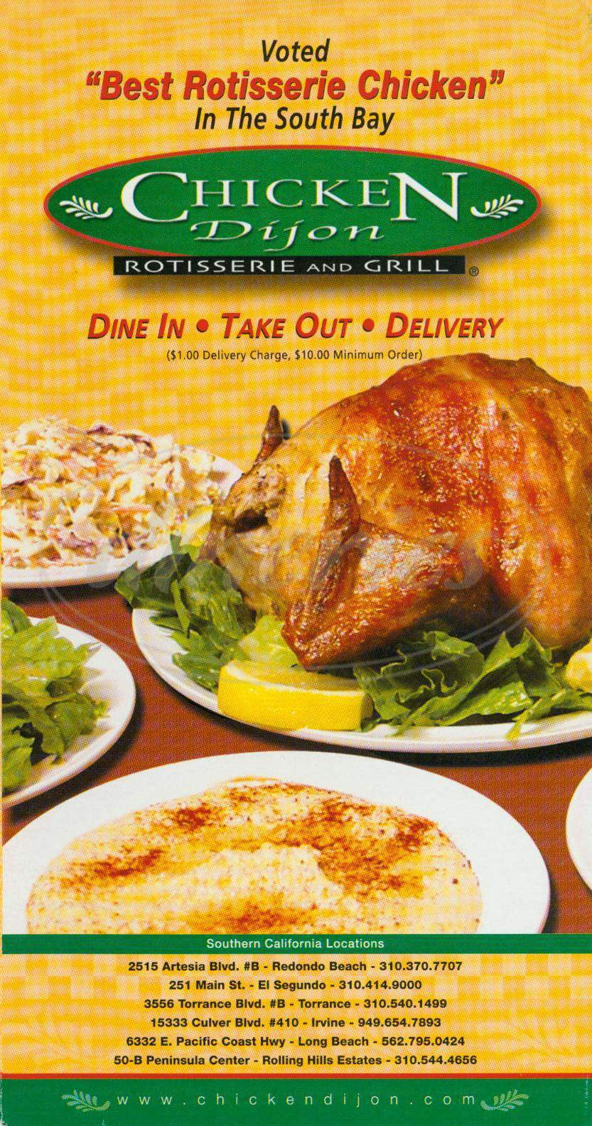 menu for Chicken Dijon
