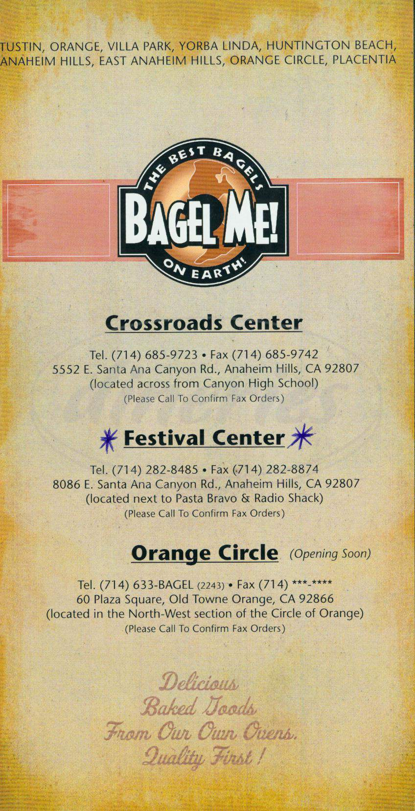 menu for Bagel Me!