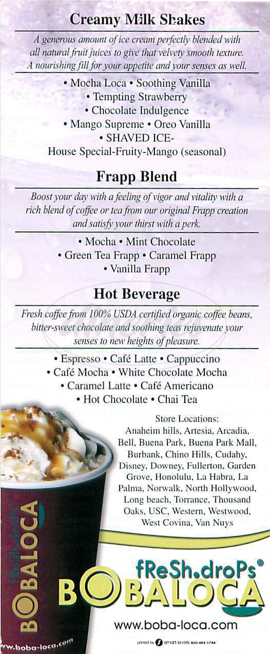 menu for Boba Loca