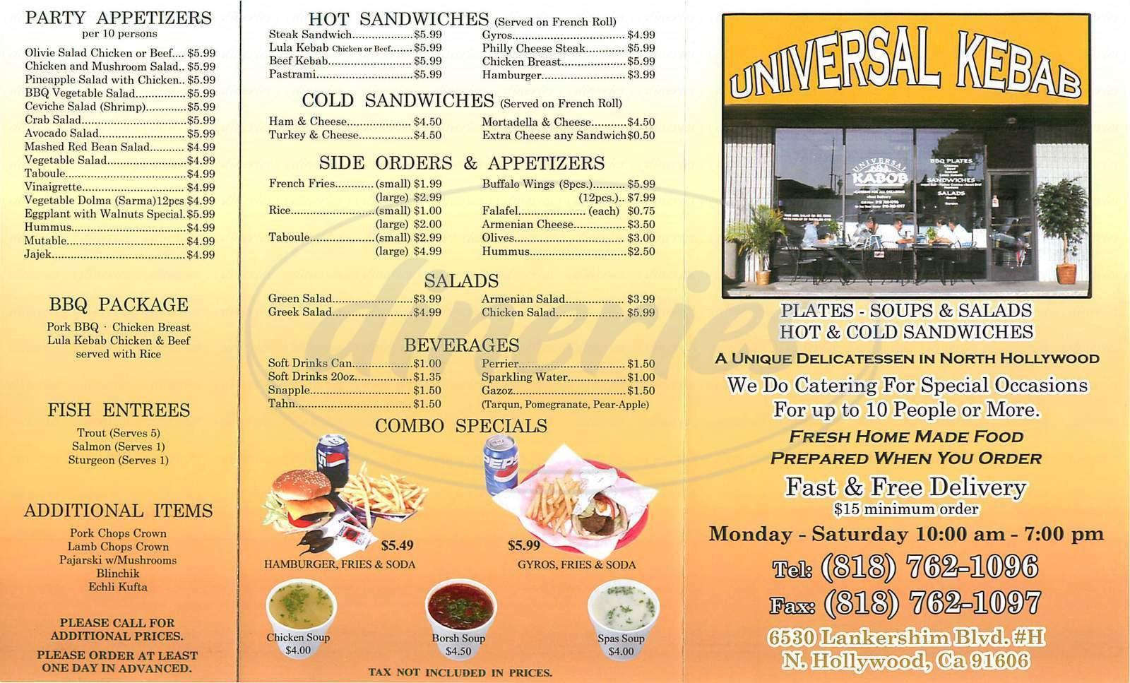 menu for Universal Kebab