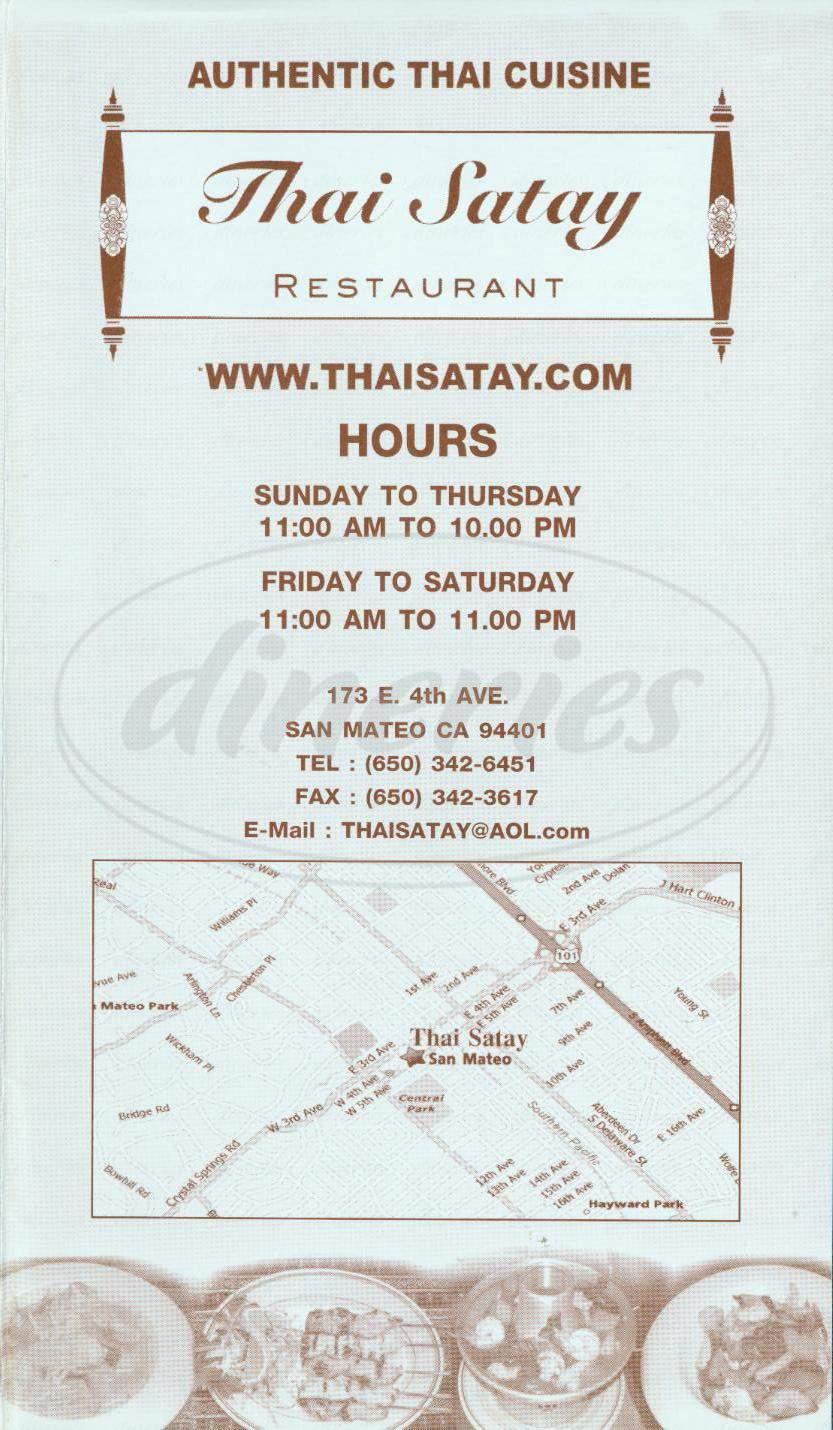 menu for Thai Satay