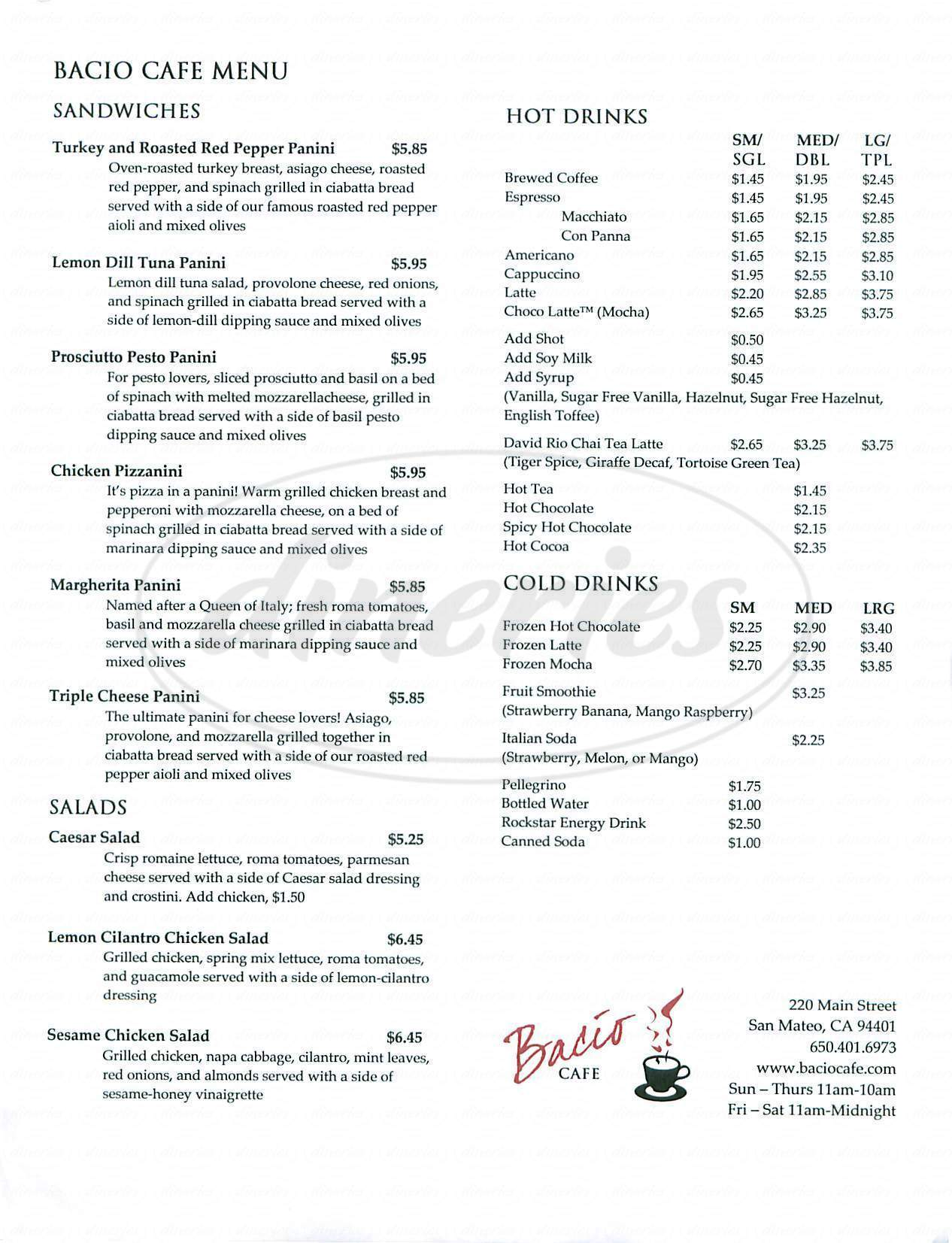 menu for Bacio Cafe